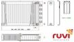 Стальной панельный радиатор Ruvi Standard 22 тип 300х1800 мм (боковое подключение) 0