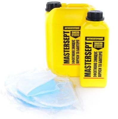 Набор: маска защитная + 1 л антисептик санитайзер для рук и поверхностей MASTERSEPT